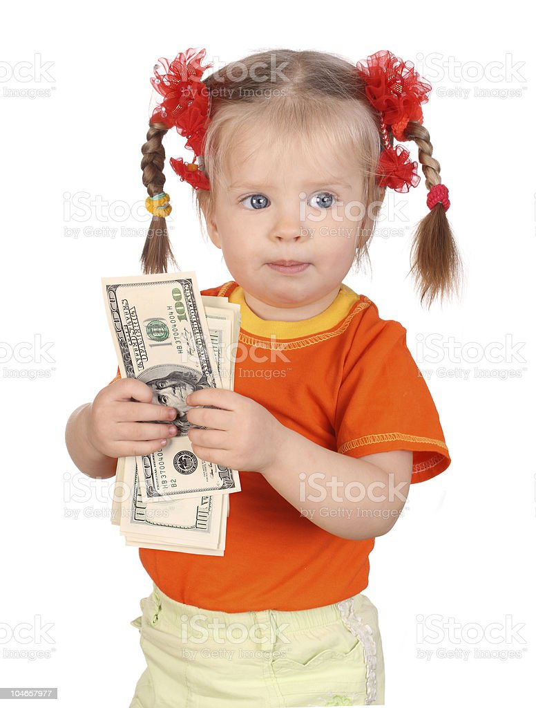 Baby with money in hand. royalty-free stock photo