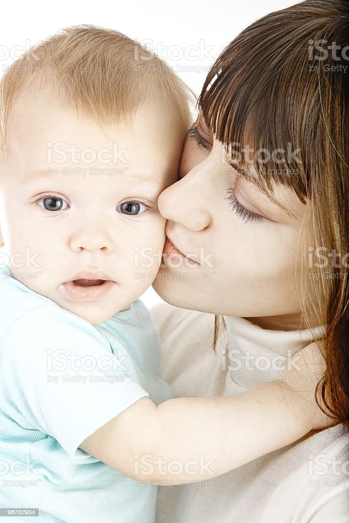 baby with mother stock photo
