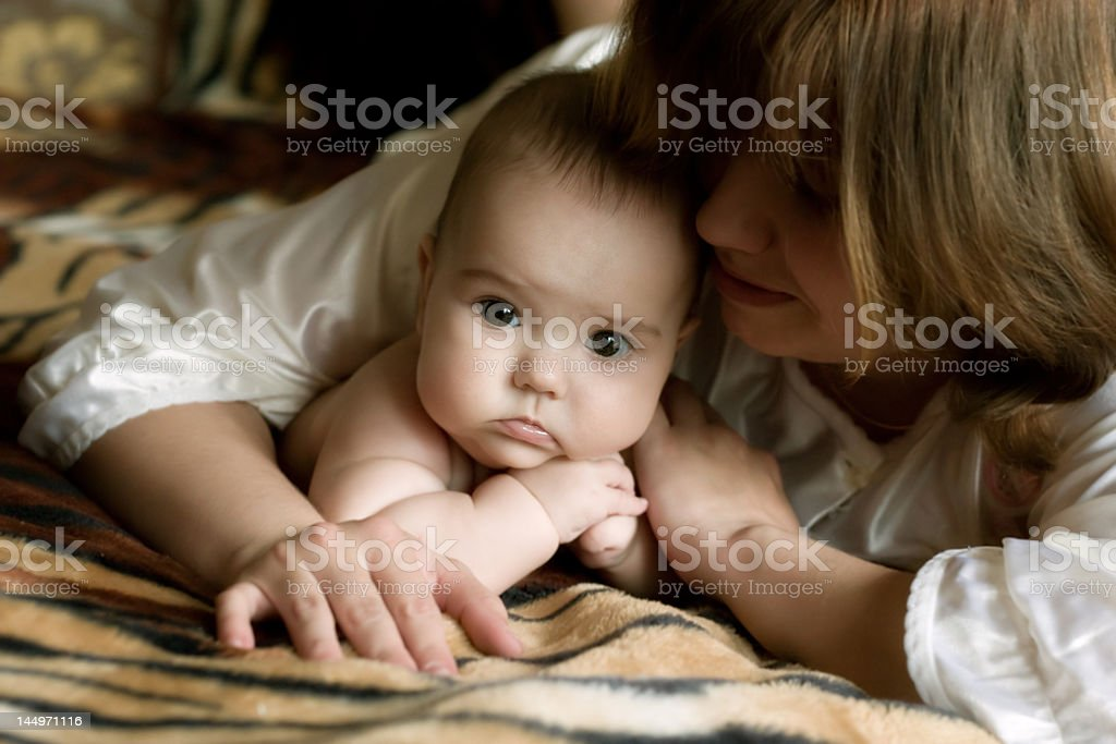 Baby with mum royalty-free stock photo