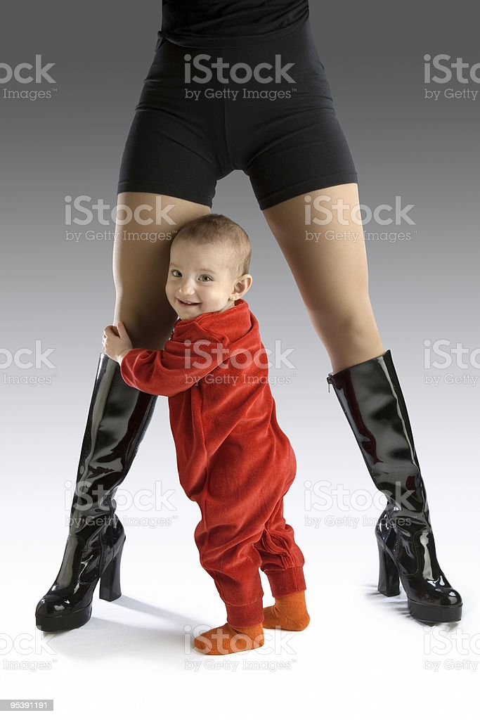 Baby with sexy mother stock photo