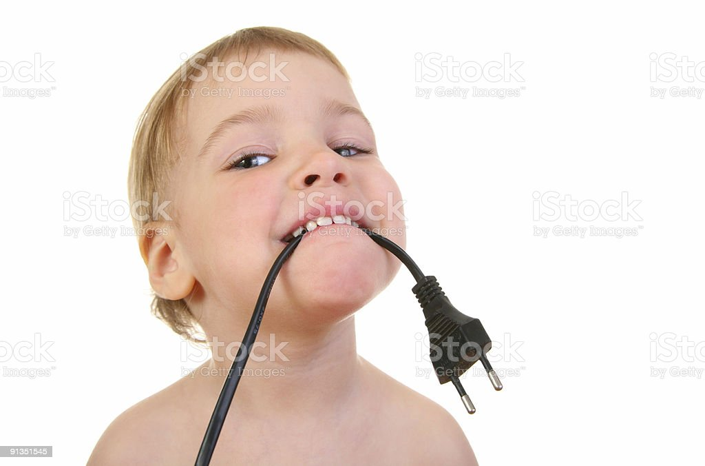 baby with wire royalty-free stock photo