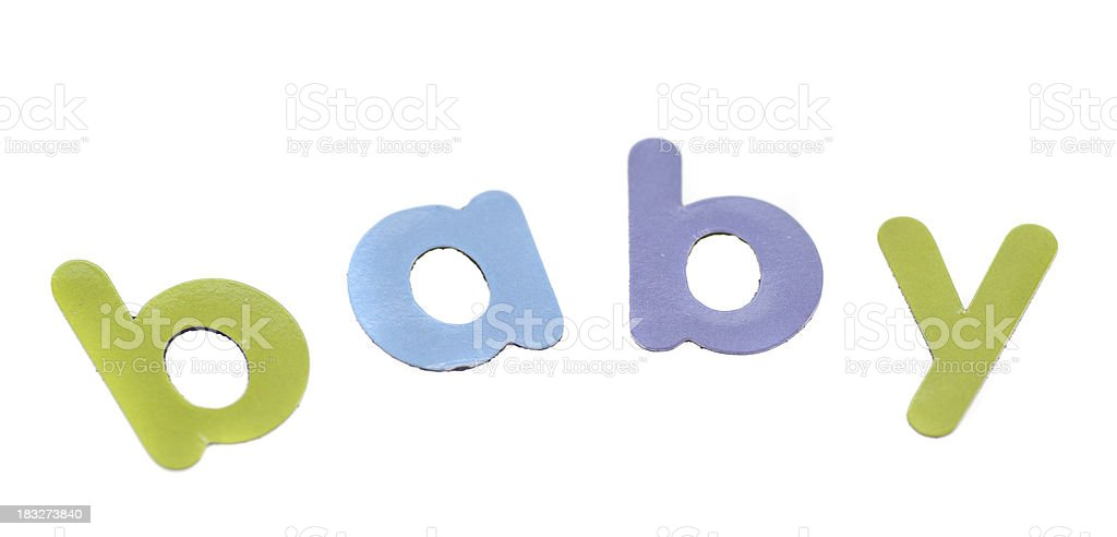 baby written as word in letters on white background royalty-free stock photo
