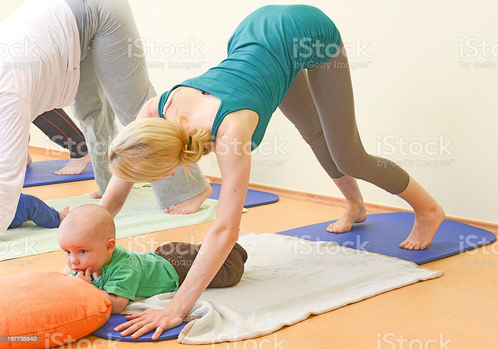 Baby Yogagroup aerobic stock photo