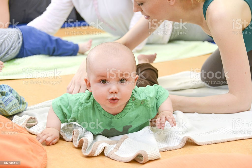 Baby Yogagroup fitness stock photo
