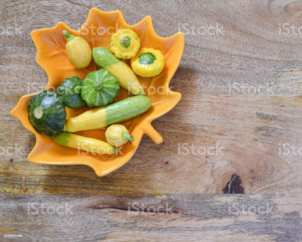Baby zucchini and squash snack stock photo