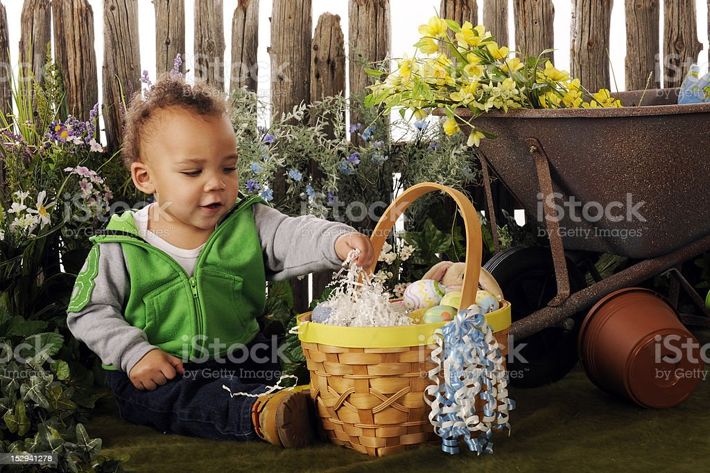 Baby's Easter Garden stock photo