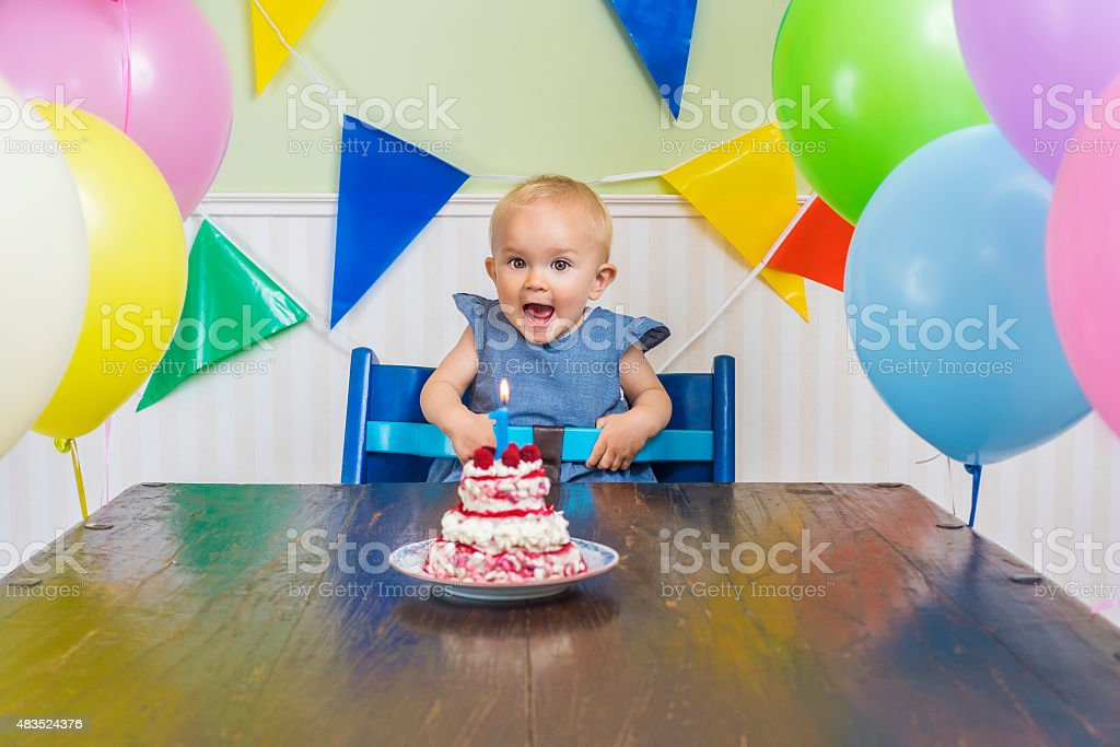 Baby's first birthday party stock photo