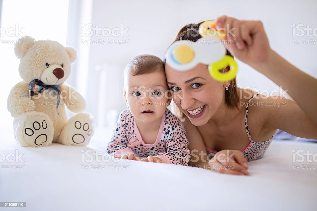 Baby's first Teddy bear stock photo