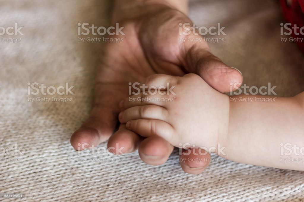 baby's hands and gramdmother's hands stock photo