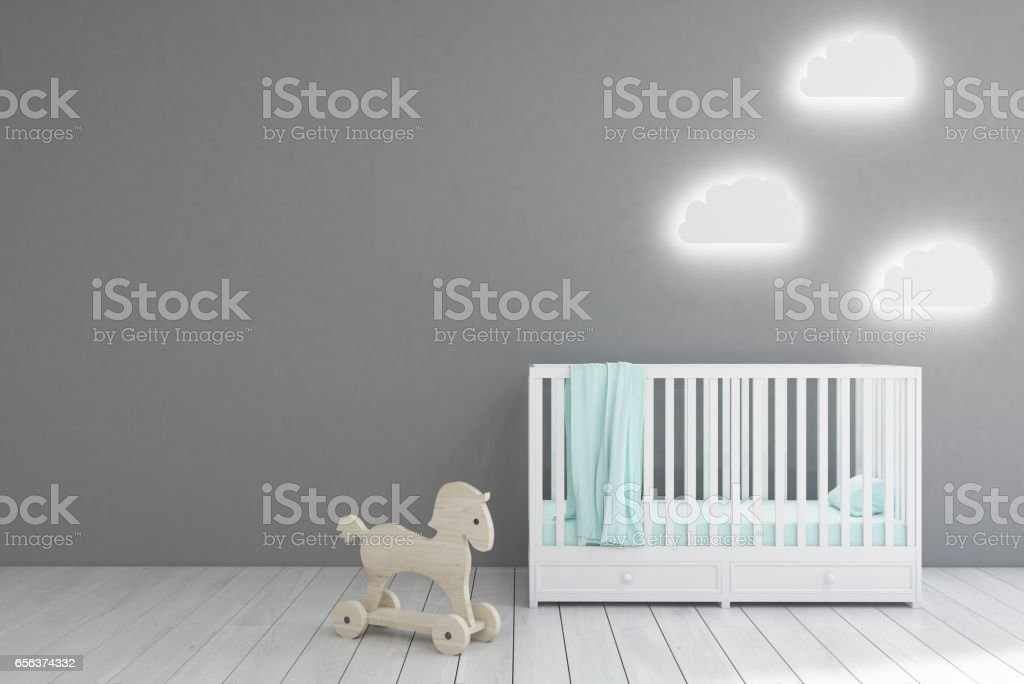 Baby's room, gray walls stock photo