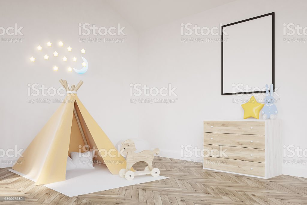 Baby's room with a tent stock photo