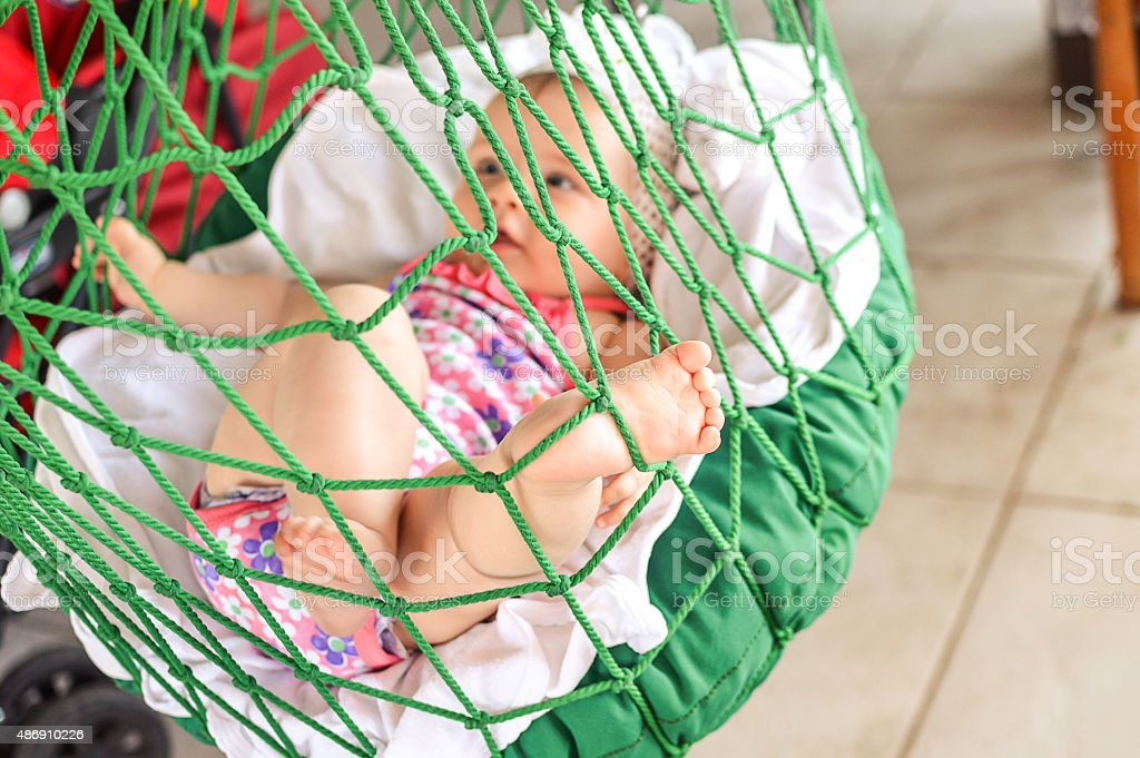 Baby's view while swings stock photo