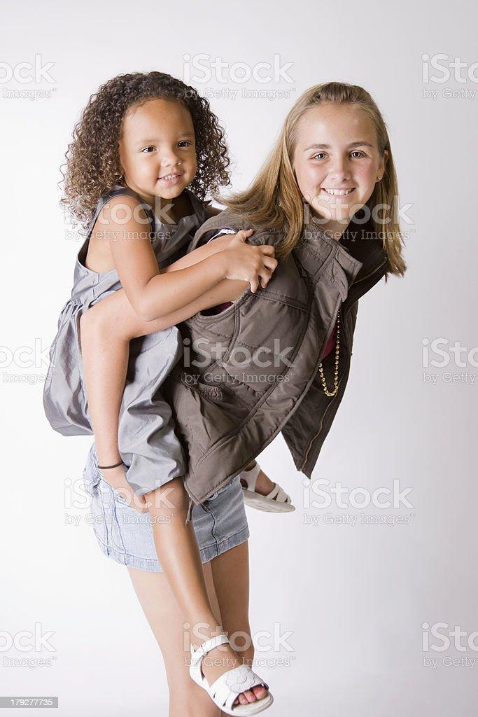 Babysitter Piggyback stock photo