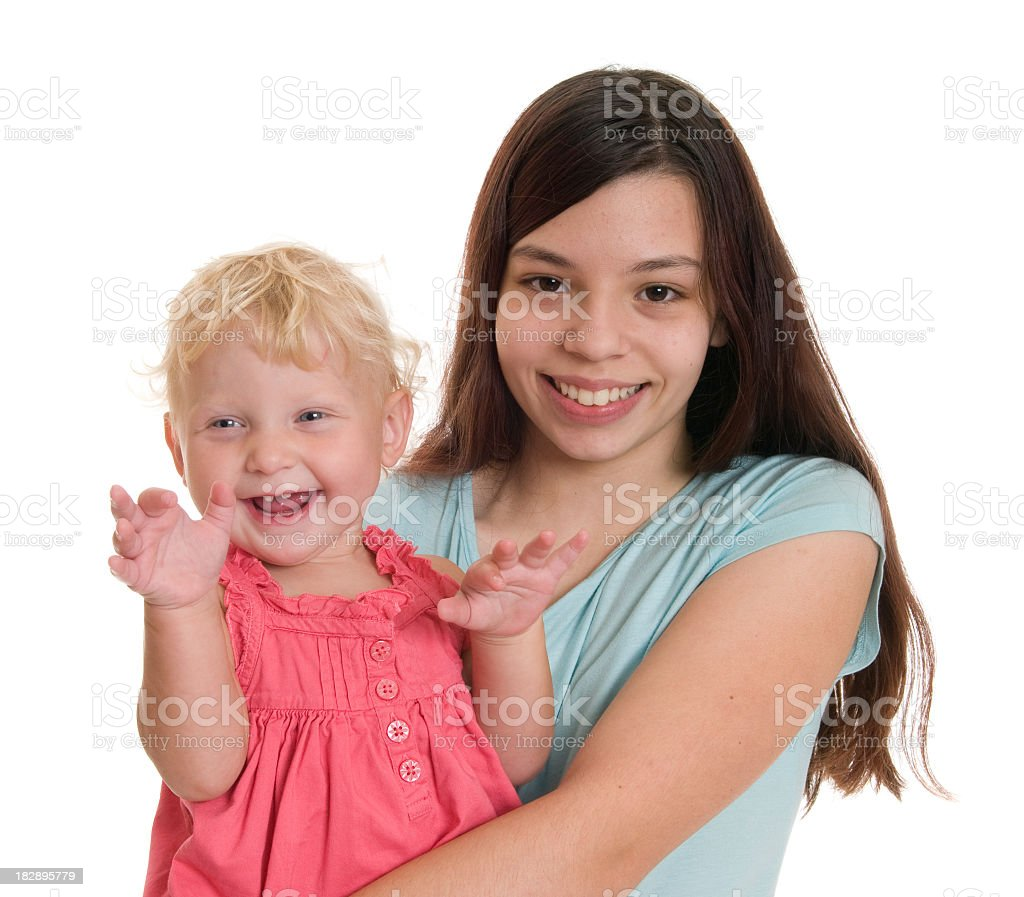 Babysitter with smiling, giggling toddler royalty-free stock photo