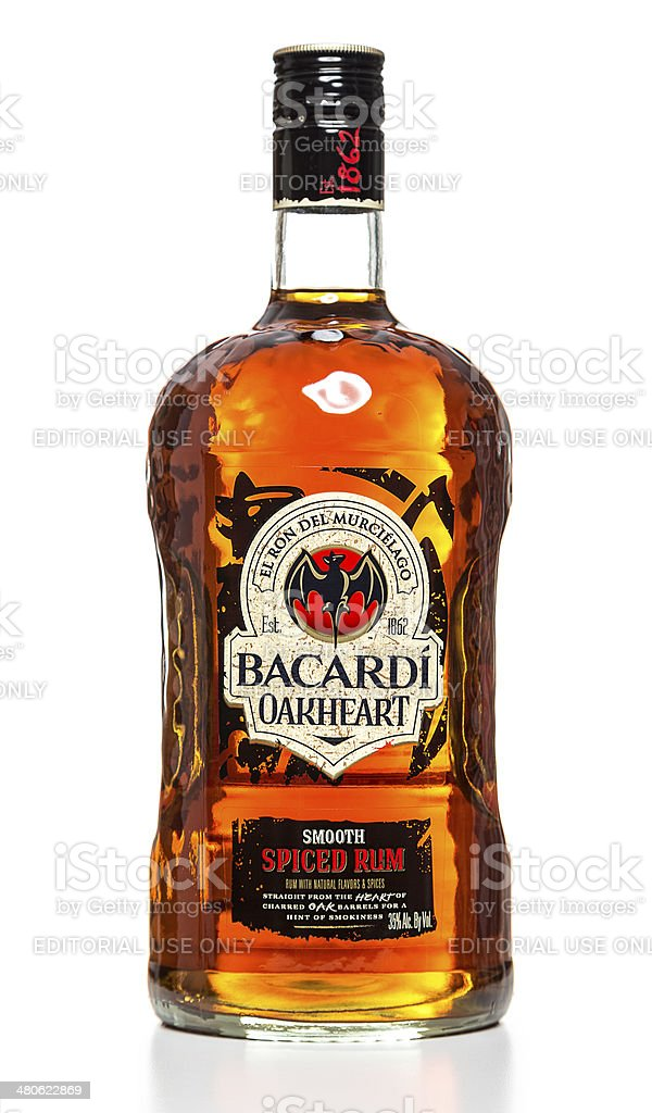 Bacardi Oakheart Smooth Spiced Rum bottle stock photo