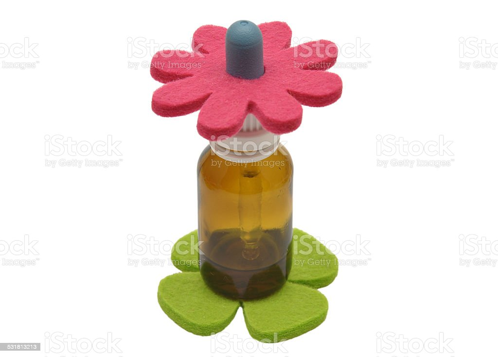 Bach flower remedies and felt decoration stock photo
