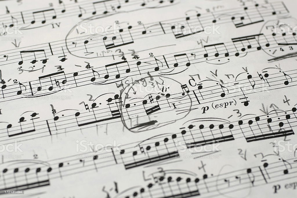 Bach violin score with teachers notes royalty-free stock photo