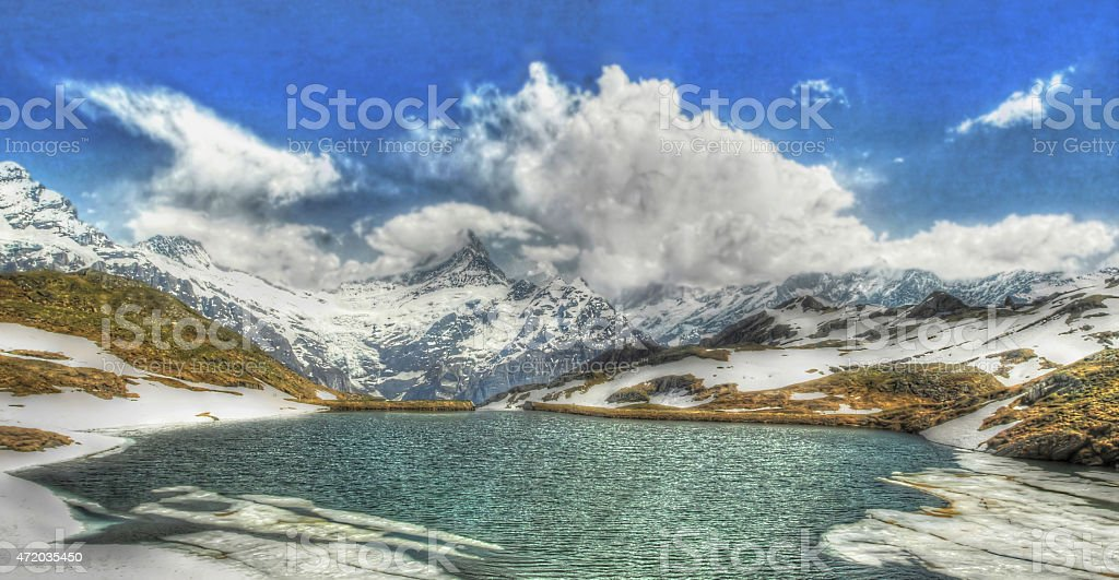 Bachalpsee in the Swiss Alps stock photo