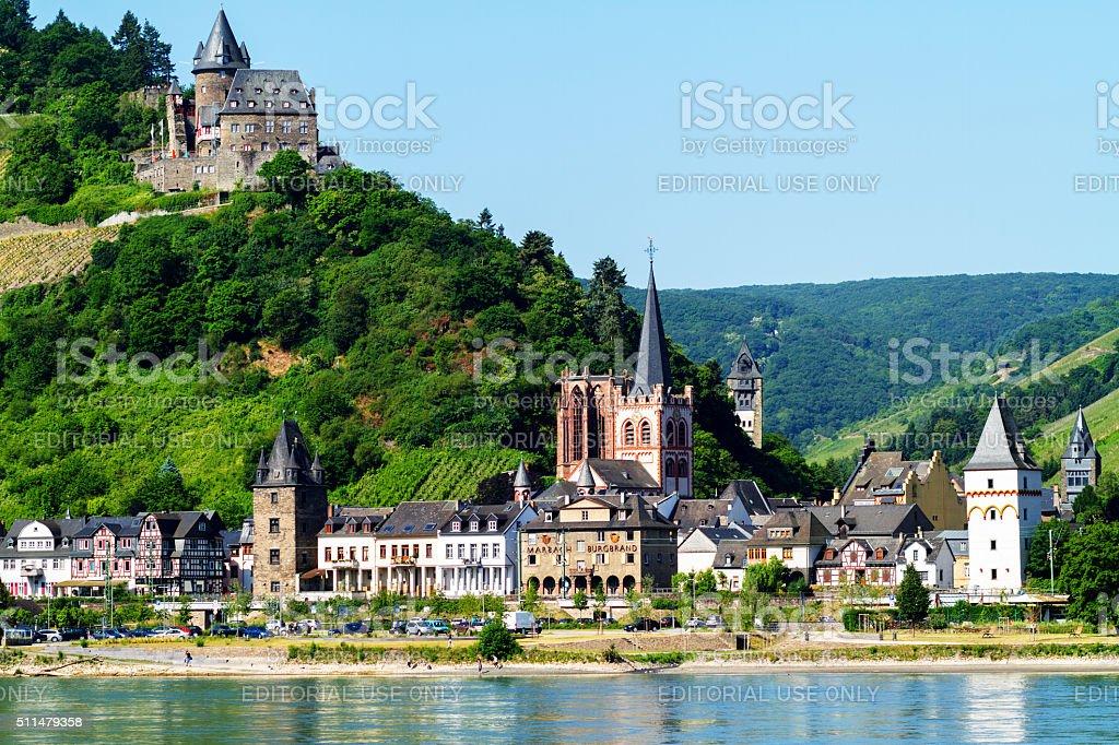 Bacharach and castle Burg Stahleck stock photo