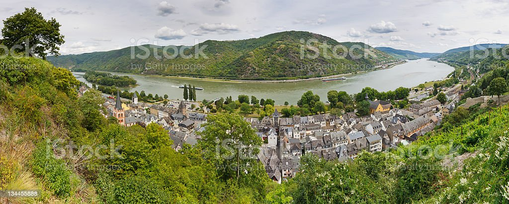 Bacharach and Rhine River, Germany stock photo