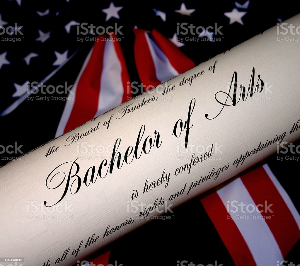 Bachelor of Arts Degree with American Flag Background royalty-free stock photo
