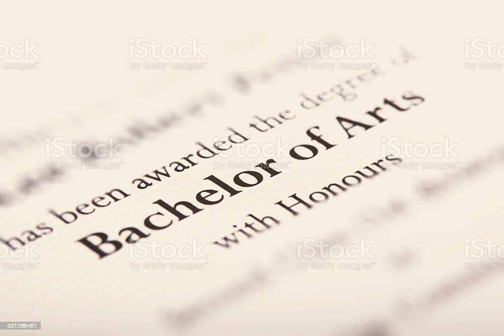 Bachelor of Arts stock photo