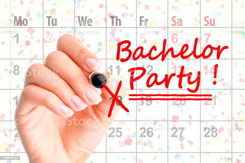 Bachelor party noted on calendar stock photo