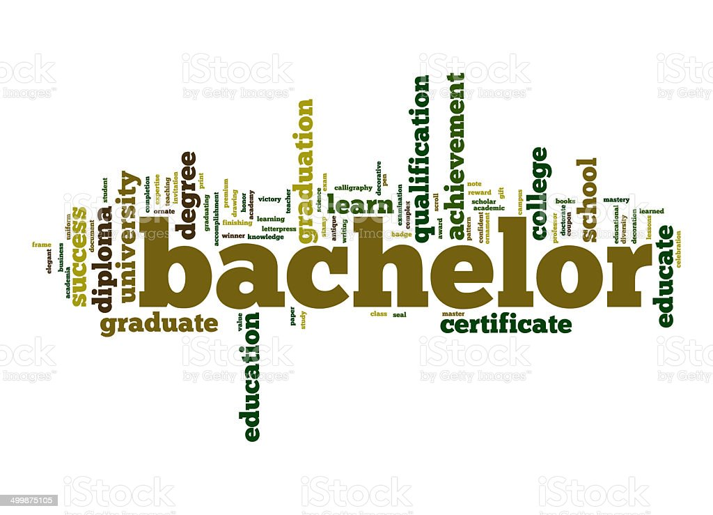 Bachelor word cloud stock photo