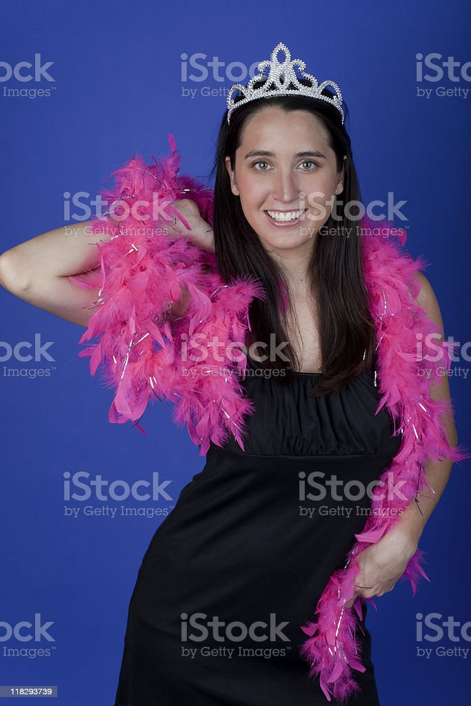 Bachelorette wearing feather boa and tiara (XXL) royalty-free stock photo