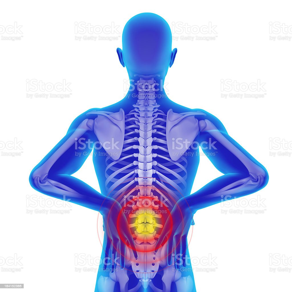 Back ache - isolated with clipping path royalty-free stock photo