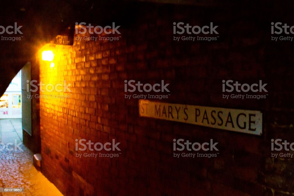 Back alley at night in Stamford stock photo