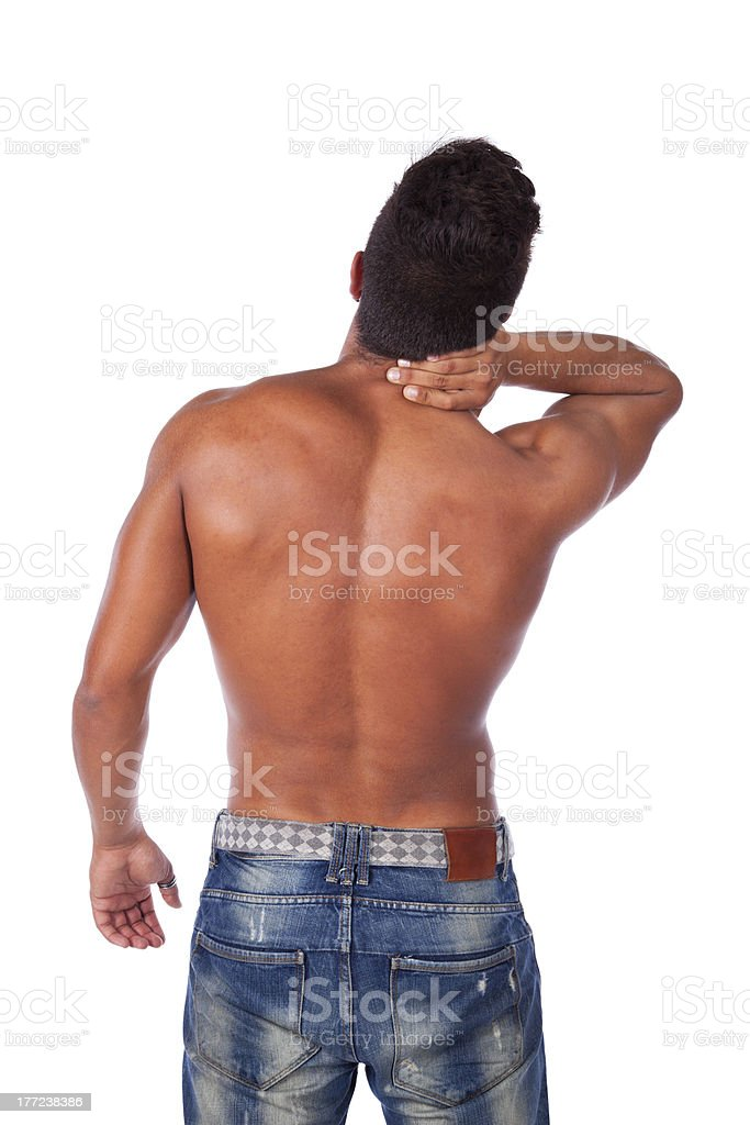 Back and neck muscle pain royalty-free stock photo