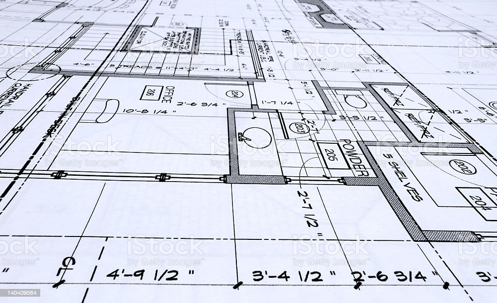 Back and white blueprint of a building royalty-free stock photo