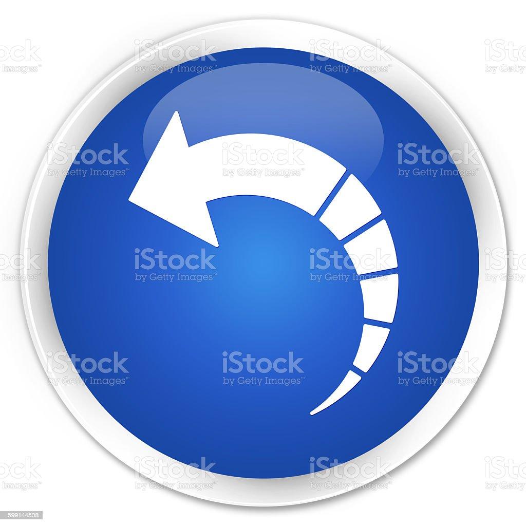 Back arrow icon blue glossy round button stock photo