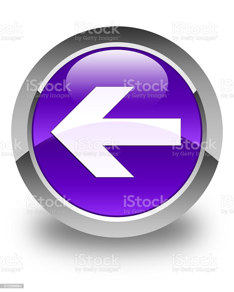 Back arrow icon glossy purple round button stock photo