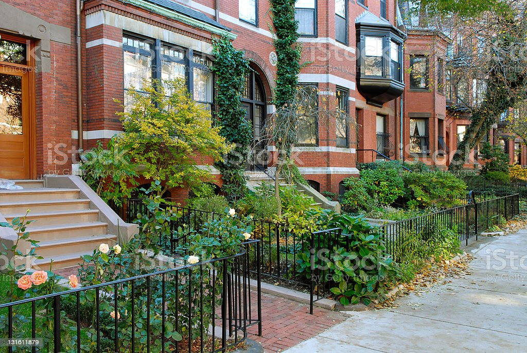 Back Bay brownstones in the fall stock photo