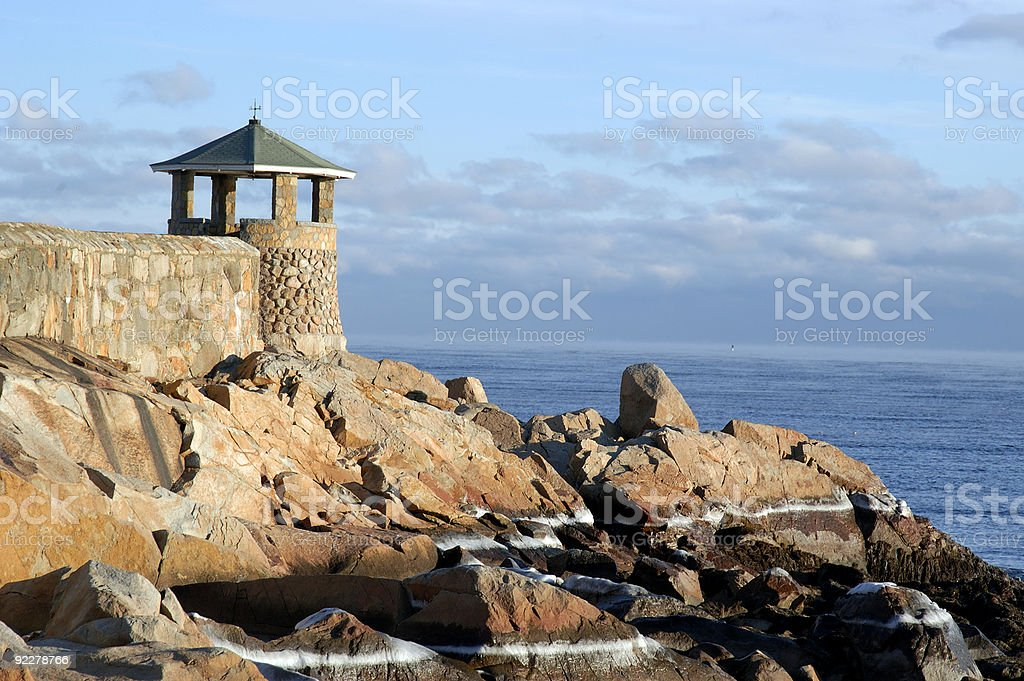 Back Beach & Gazebo. Rockport, MA stock photo