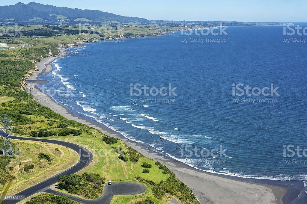 Back Beach Ngamotu Taranaki stock photo