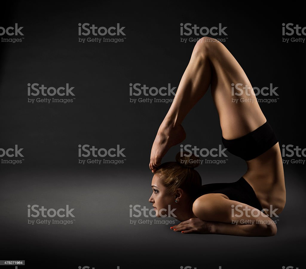 Back Bending, Woman Bowing Stretch Arch, Gymnastics Acrobat Backbend Pose stock photo