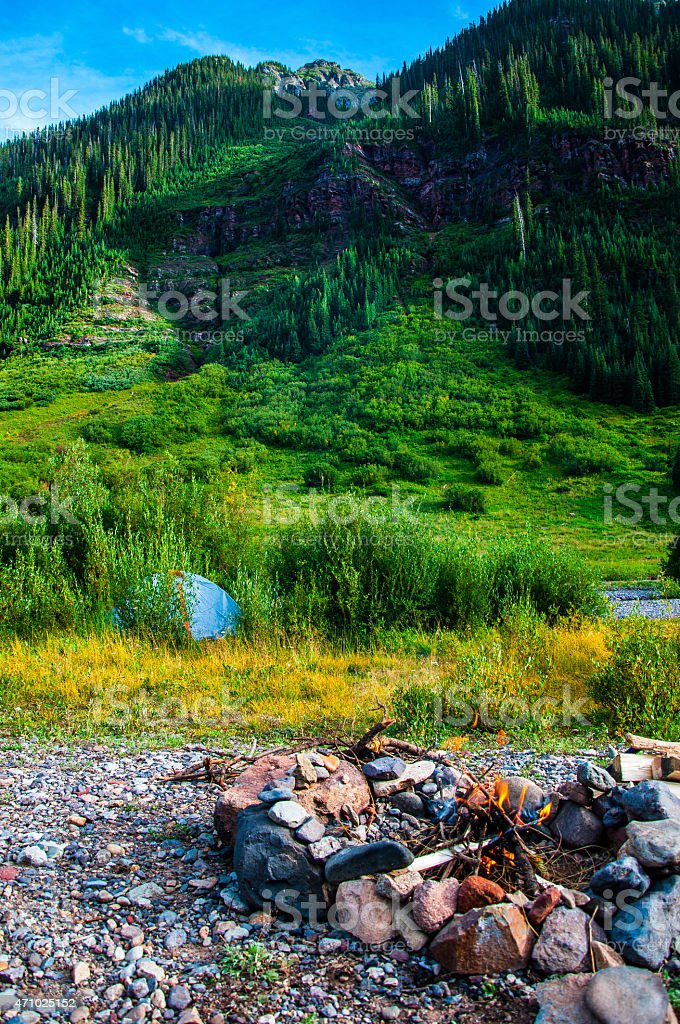 Back Country Camping Colorado Camp Fire stock photo