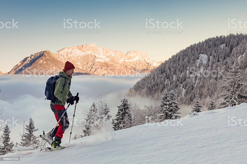 Back country Ski touring in alps with Untersberg in background stock photo