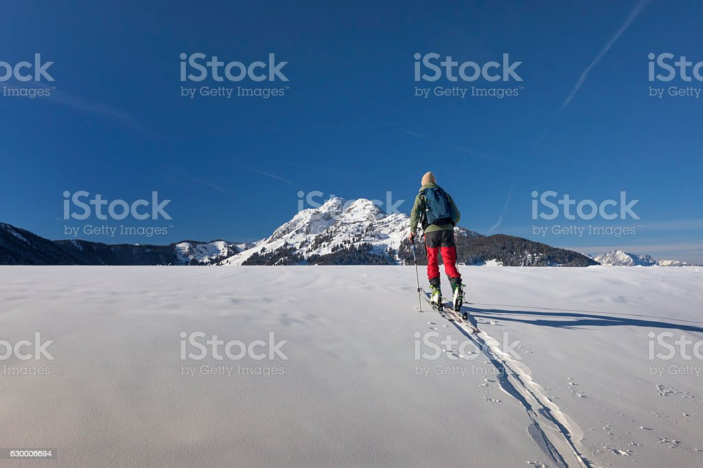 Back country Ski touring in the Austrian alps stock photo