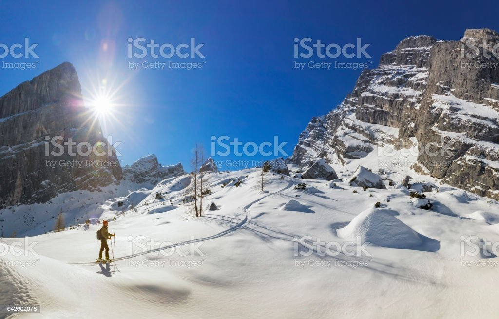 Back country skier on white slopes at Watzmann - Alps stock photo
