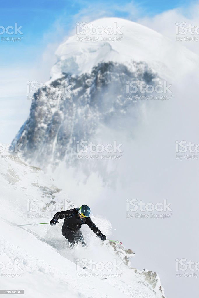 Back Country Skiing - Powder Snow stock photo
