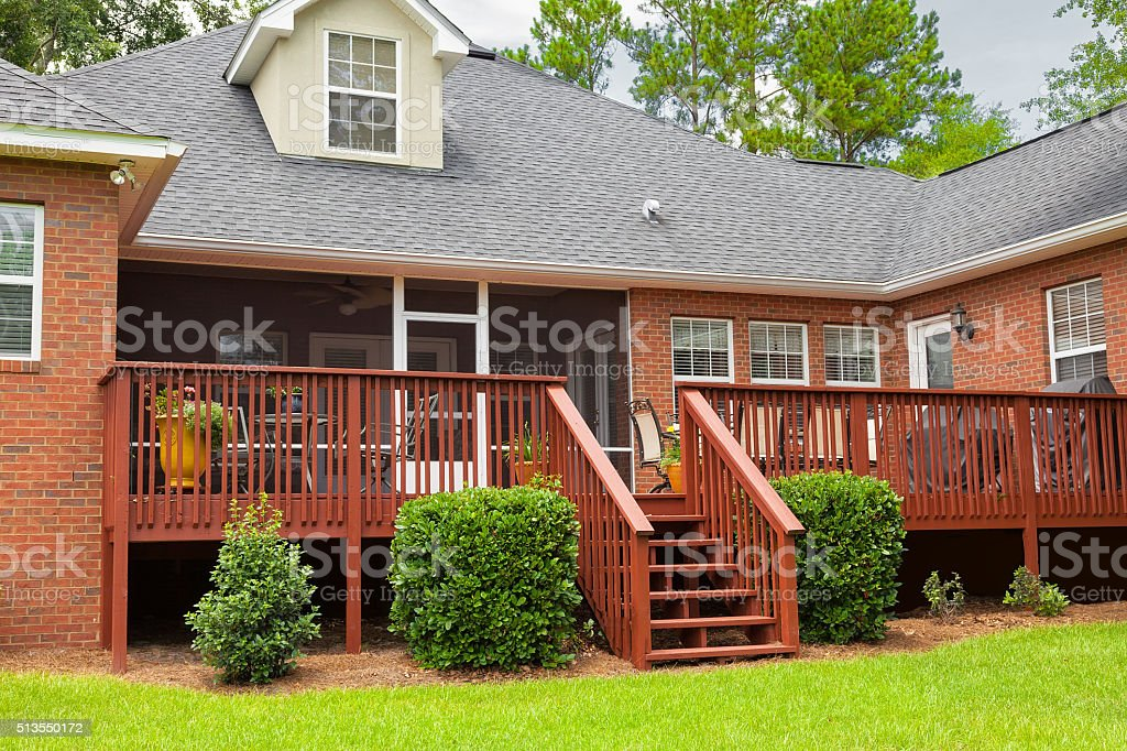 Back Deck in Residential House stock photo