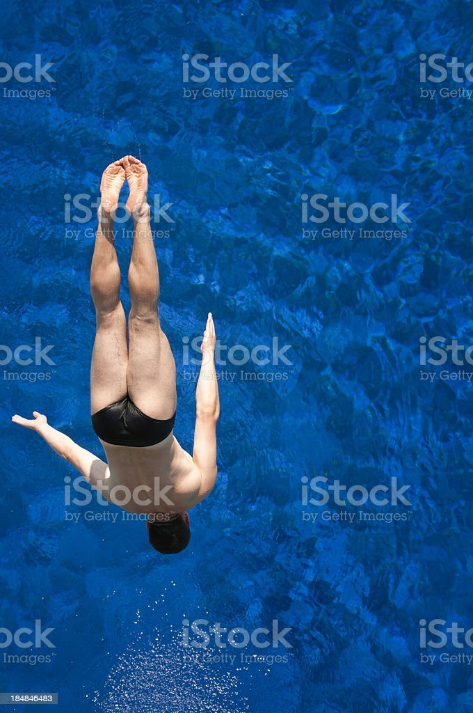 Back diver on the way down stock photo
