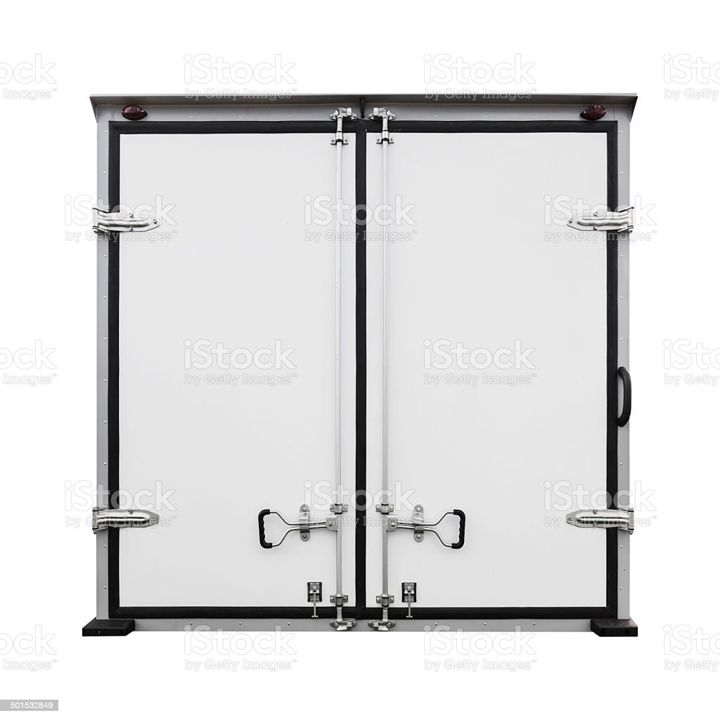 Back doors of new white cargo truck isolated on white stock photo
