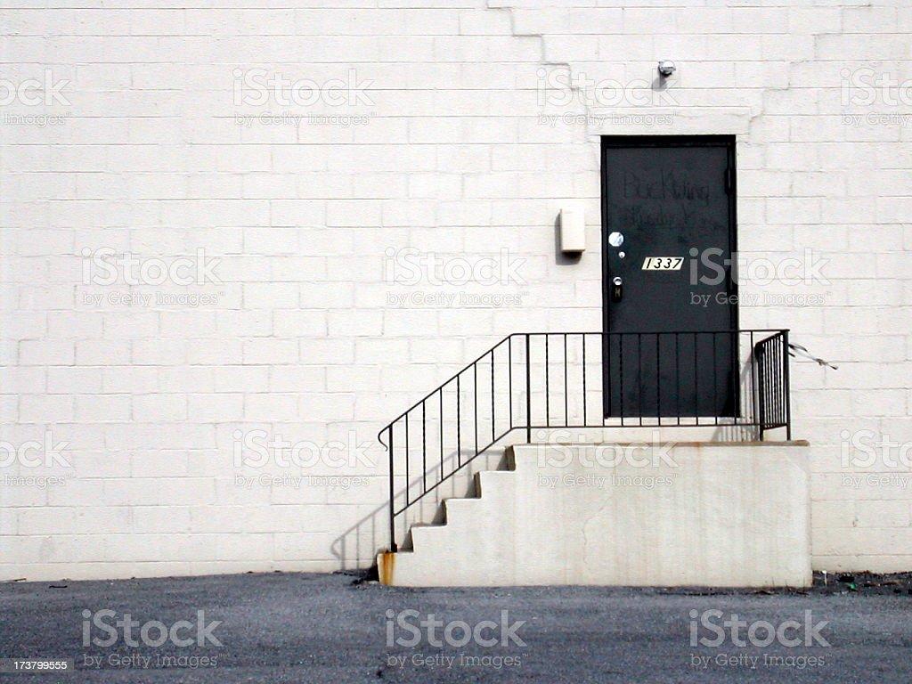 back entrance to wharehouse stock photo