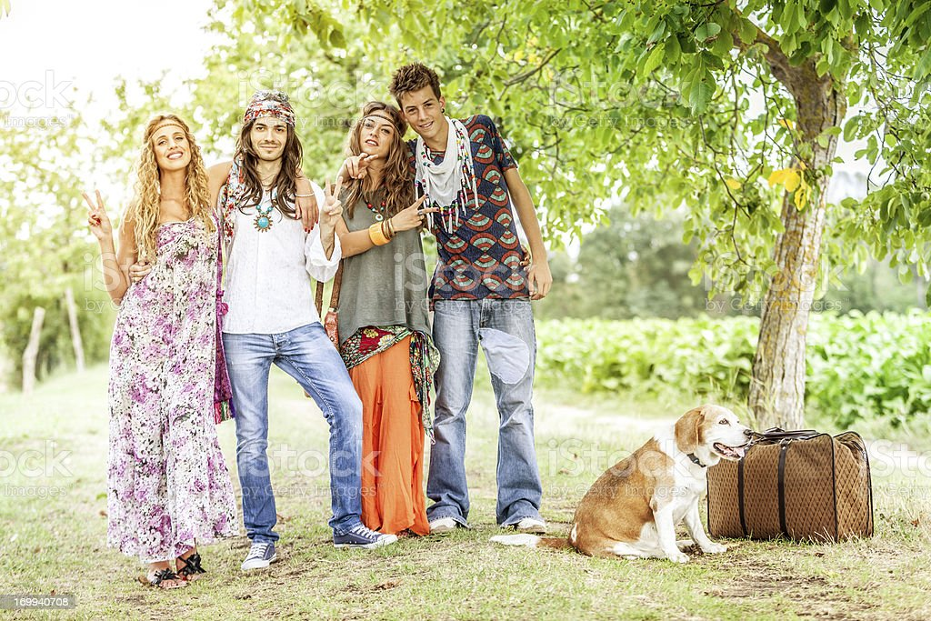 Back in the 70s: hippies go wild royalty-free stock photo
