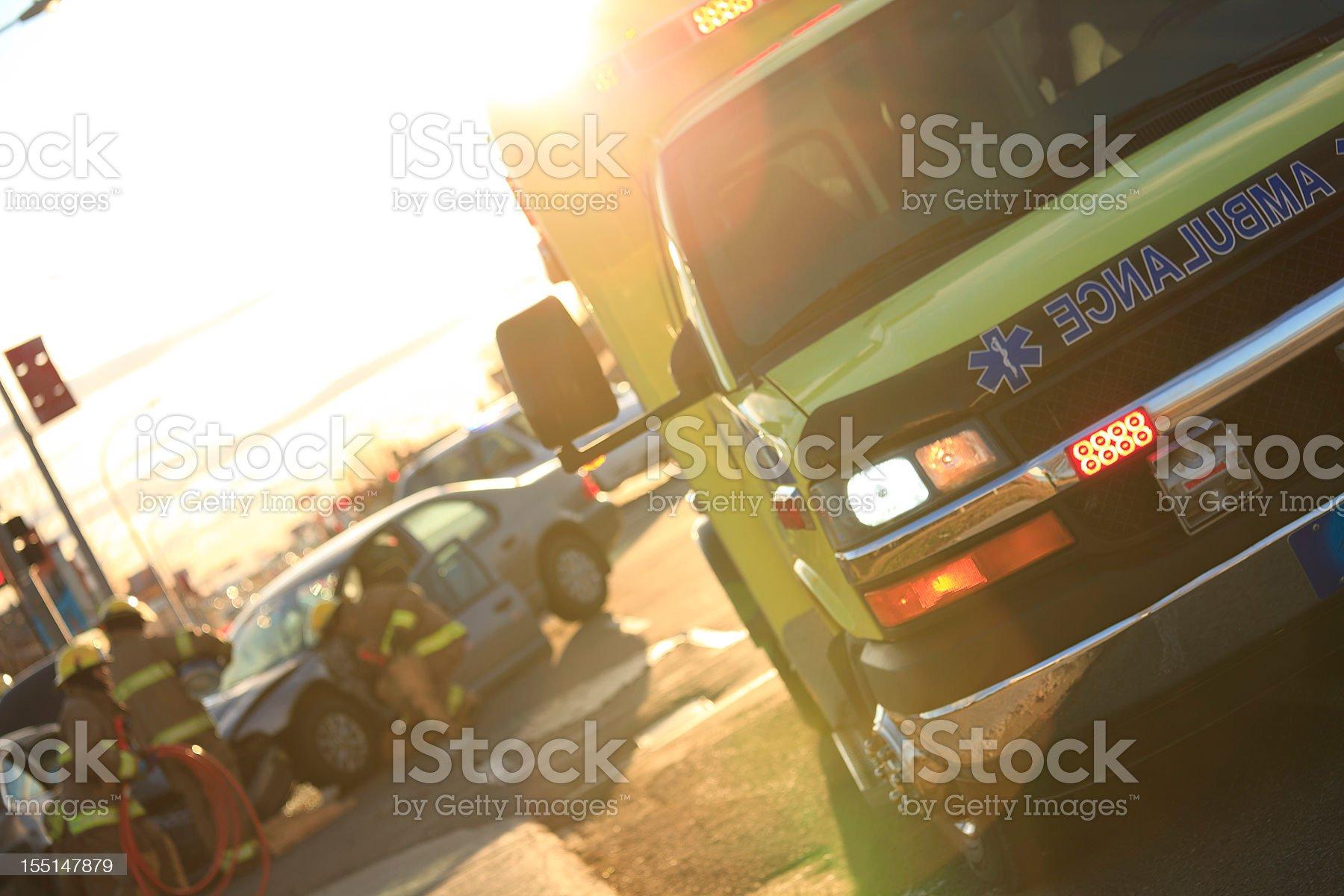 Back Lit Accident Scene royalty-free stock photo